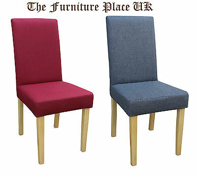 Dorian Dining Chairs in Grey or Red Fabric Sold In Pairs - Free Delivery