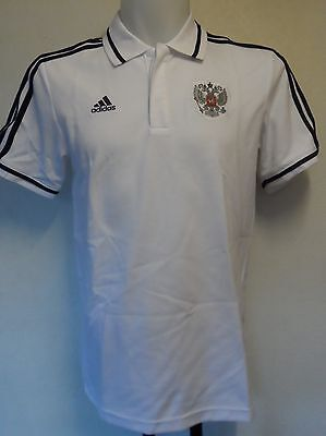 Russia Football White Polo Shirt By Adidas Size Medium Brand New With Tags