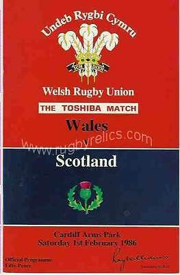 WALES v SCOTLAND 01 FEB 1986 RUGBY PROGRAMME WITH COA