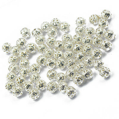 100x Silver Metal Round Ball Spacer Beads Crafts DIY Jewellery Findings 6mm