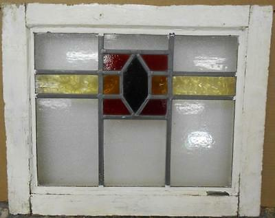 "OLD ENGLISH LEADED STAINED GLASS WINDOW Gorgeous Geometric Band 20"" x 16.5"""