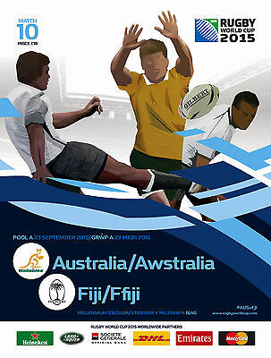 AUSTRALIA v FIJI 23 Sep RUGBY WORLD CUP 2015 OFFICIAL PROGRAMME Cardiff No 10