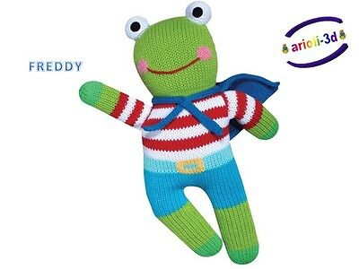 FREDDY FROG BY ZUBELS 12'' 100% COTTON BIO HAND KNITTED  GRENOUILLE eco friendly