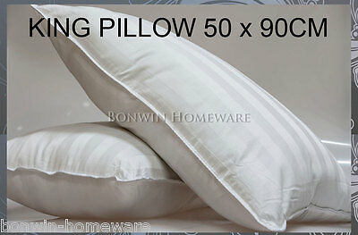 100% White Cotton Covered King Size Washable Polyester Pillow 50 x 90cm Washable