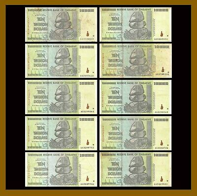 Zimbabwe 10 Trillion Dollars x 10 Pcs, 2008 AA Circulated Used = 100 Trillion