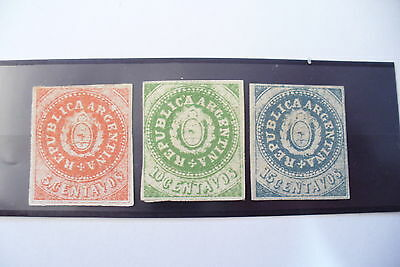 Tres Rare  3 Timbres 1862  Argentine 5 - 10 - 15 Centavos - Trace Charniere