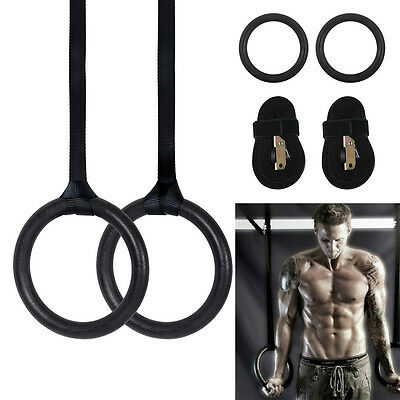 Pair of Adjustable Olympic Gymnastic Crossfit Gym Strength Training Rings PullUp