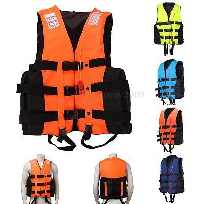 Adult Swimming Polyester Life Jacket Vest Swimming Safe Free Whistle - All Sizes