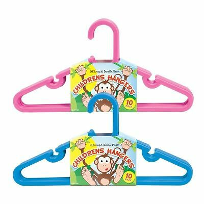 10x CHILDRENS Clothes Hangers Toddler Kids Baby Coat Plastic Space Saver Slim