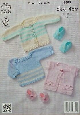 KNITTING PATTERN Baby Jumper, Moccasins & Cardigans DK or 4ply King Cole 3695