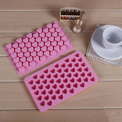 Cute 55 Cell Heart Style Silicone Chocolate Candy Jelly Mold Maker Rectangle