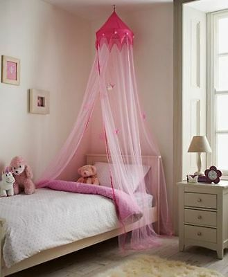 Large 230cm Pink Princess Canopy Bed Crown Stars Net Kids Girls