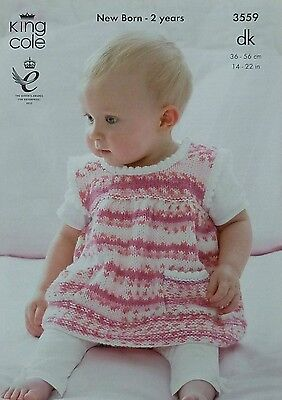 KNITTING PATTERN Baby Sleeveless Dress/Pinafore with pockets DK King Cole 3559