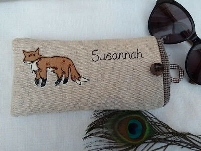 Handmade Personalised Fox Glasses Case Linen Choice of name Grandad Daddy Gift