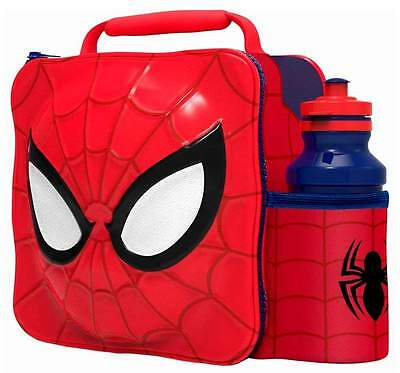 Marvel Spider-Man 3D Lunch Bag/Box and 500ml Bottle Set | Spiderman Lunchbox