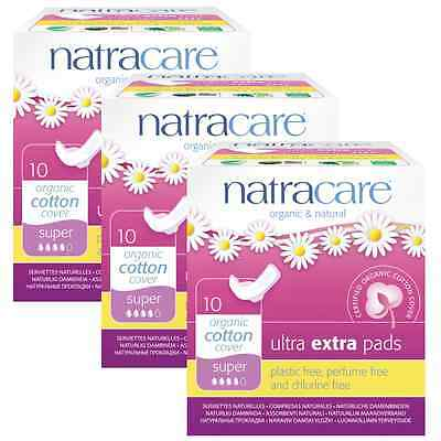 Triple Pack Natracare ULTRA EXTRA pads SUPER Organic Cotton, Chlorine Free.