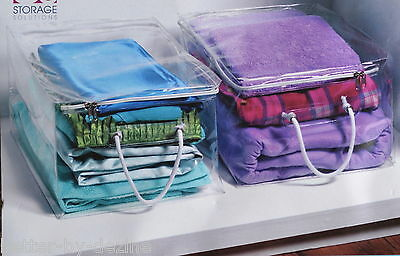2 x CLEAR VINYL STORAGE BAGS BOX CHESTS ZIP LOCK UNDER BED STORAGE SHOES CLOTHES
