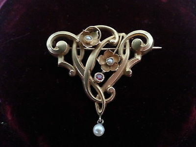 Broche ancienne or 18 carats, art nouveau, jugendstil, gold and pearls