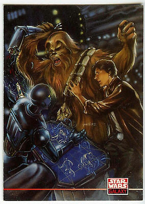 Star Wars Galaxy Series 2 #272 Death Star Servant Droid /& Chewbacca Card C91