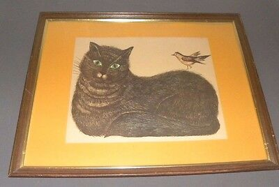 """Vintage Marie Bernard Cat Picture Wood Framed Private Collection 301 24"""" x 18"""""""