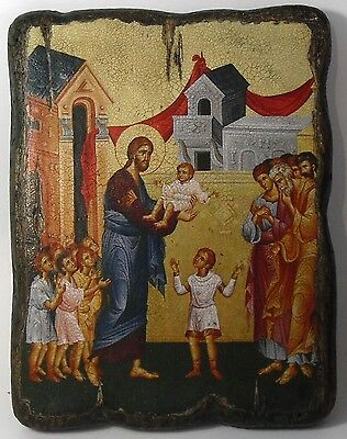 Handmade copy ancient ORTHODOX ICON Jesus Christ Blessing the children 27M
