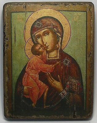 Handmade copy ancient ORTHODOX CHURCH ICON Mother of God of Feodorovskaja 41M