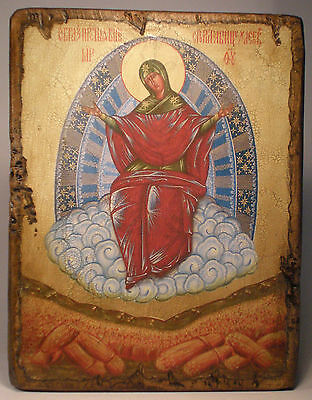 Handmade copy ancient ORTHODOX CHURCH ICON Mother of God Provider of Bread 42M