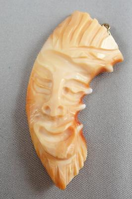 Gorgeous Vintage Hand Carved Coral Mask Face Pendant * S