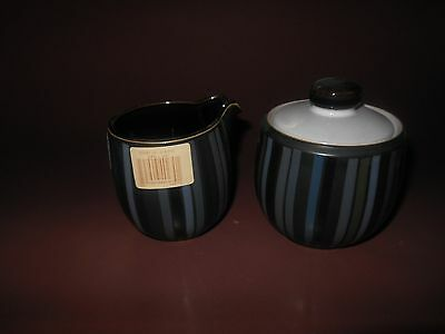 Denby Jet Stripes Covered Sugar and Small Jug