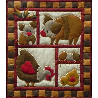 Pigs and Chickens Applique Wall Quilt Kit by Rachels of Greenfield 13x15 inches