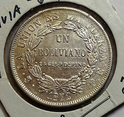 1872 Bolivia One Silver Boliviano Higher Grade Crown Size Coin With Mint Error