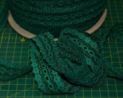 GREEN Eyelet Lace 30mm x 5m, Insertion Lace, Knitting Lace