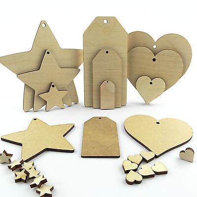 Wooden & Mdf hearts stars and luggage tags. Craft shapes blanks and cut outs