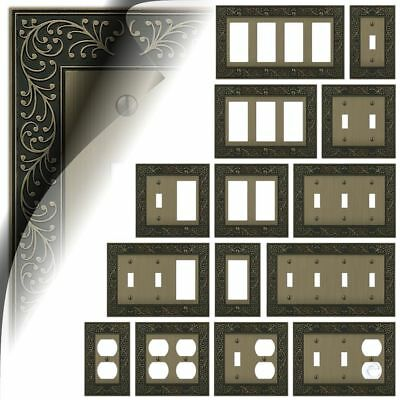 Wall Switch Plate Cover English Garden Brushed Brass Outlet Toggle Decora Rocker