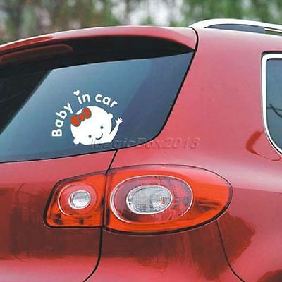 Cute Baby in car Signs Waterproof Reflective Car Sticker Auto Truck Window Decal