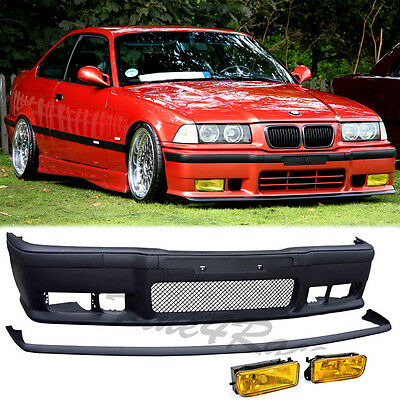For 92-98 BMW E36 3-Series M3 Style Front Bumper + Lip + Yellow Fog Lights 2/4Dr