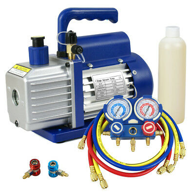 4CFM 1/3HP Vacuum Pump Air Condition Auto Set +Manifold Gauge A/C HVAC R134a