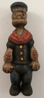 "Popeye The Sailor Man Small 5"" Tall Cast Iron Bank Figurine Antique Patina"