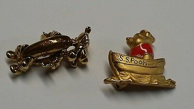 2 Disney Tigger head hands feet move  pooh bear  Gold Tone  metal Brooch Pin lot