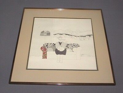 Original Ink Drawing by Paula Best One Woman Among Her Friends Cat Picture Art