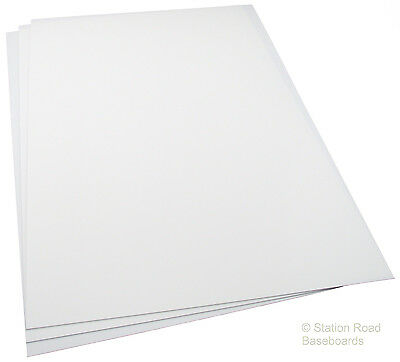 "1.0mm White Plasticard 3 Large Sheets 40Thou (0.040"") Matt Styrene HIPS Size A3+"