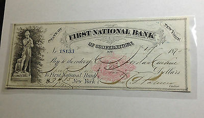 1874 First National Bank Of Cooperstown Ny Sharp Note And Signatures