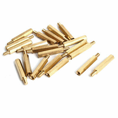 M3x23+6mm Male/Female Threaded Brass Hex Tapped Hexagonal Spacer Standoff 20pcs