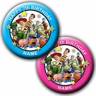 PERSONALISED TOY STORY BIRTHDAY BADGES/FRIDGE MAGNET/MIRRORS - 58MM or 77MM