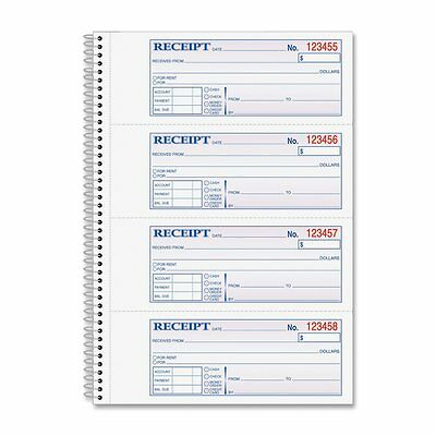 Adams Money and Rent Receipt Book, 2-Part Carbonless, 2.75 x 7.13 Inch 200 Sets