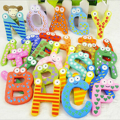 26pcs Letters Baby Toys Kids Wooden Alphabet Fridge Magnet Child Educational Toy