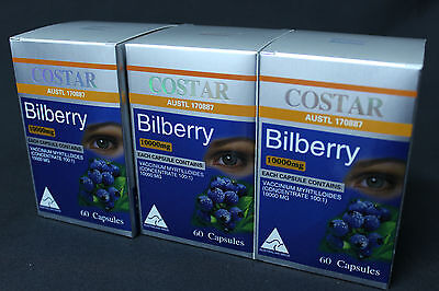 3 x COSTAR Bilberry 10000mg 60 Capsules Eyes Vision Health