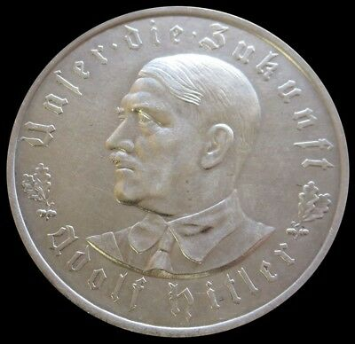 Rare 1933 D Silver Germany Third Reich Portrait Medal