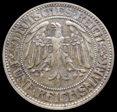 1927 E Silver Germany 5 Reichsmark Weimar Republic Oaktree Coin Extremely Fine
