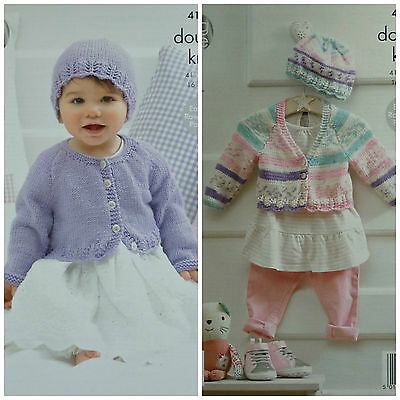 KNITTING PATTERN Baby Round & V-Neck Cardigans with Lace Hem & Hat DK KC 4194